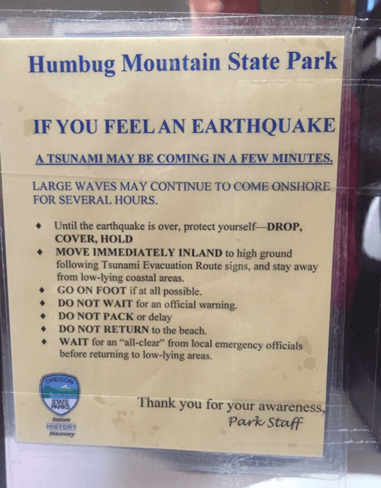 Humbug State Park earthquake warning....