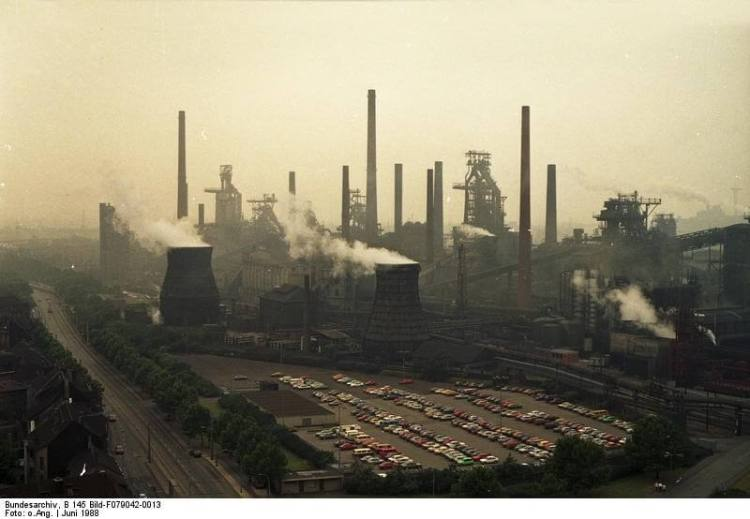 Steelworks potentially prepresentative of Klockner Steelworks, Dusseldorf, Germany, original owners of Kiefernstrasse.