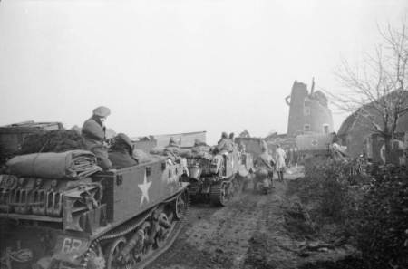 Allied forces moving through Netherlands in 1945
