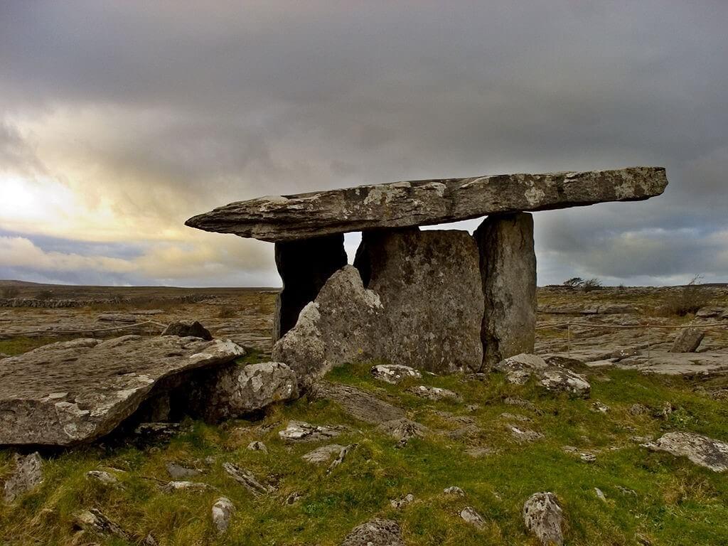 Exploing Irish countryside scenes, dolmen.