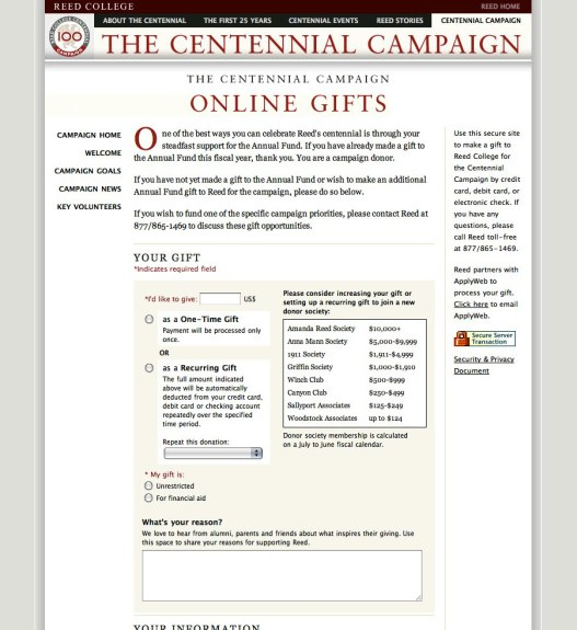 Reed Centennial Campaign website: online gifts