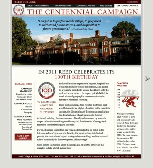 Reed Centennial Campaign website home, which we designed to be light and focused on the future, without losing the college's mission of academic rigor.