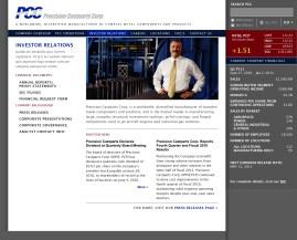 Precision Castparts corporate home: Investor Relations (Matt Giraud, Creative Director / Designer)