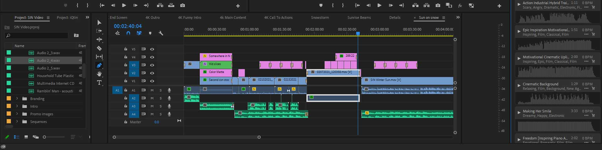 Video editing timeline of an episode of Somewhere In Niagara.