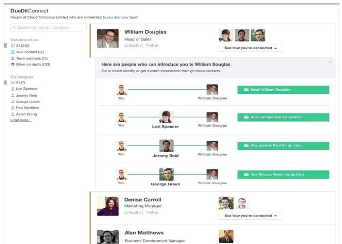 DueDil Connect leverages co-worker connections for identifying introductions.