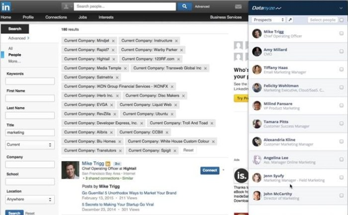 Datanyze Insider captures contacts from LinkedIn lists for import, with emails, into CRMs. Unfortunately, this feature is being phased out.