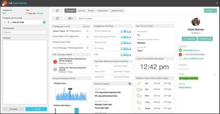 """""""Tile View provides a single place for a sales person to view all of the critical information for an enterprise contact including the best time to contact them, which form of communication they respond to the best, and even what the weather is where they work."""""""