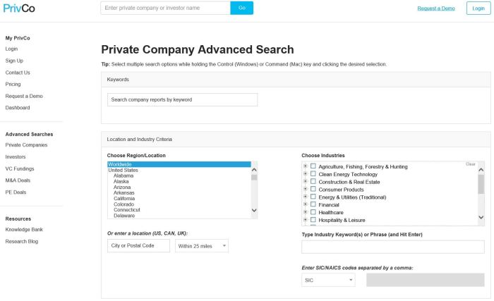 PrivCo Prospecting provides advanced searching for private companies, investors, VC Fundings, M&A Deals, and PE Deals.