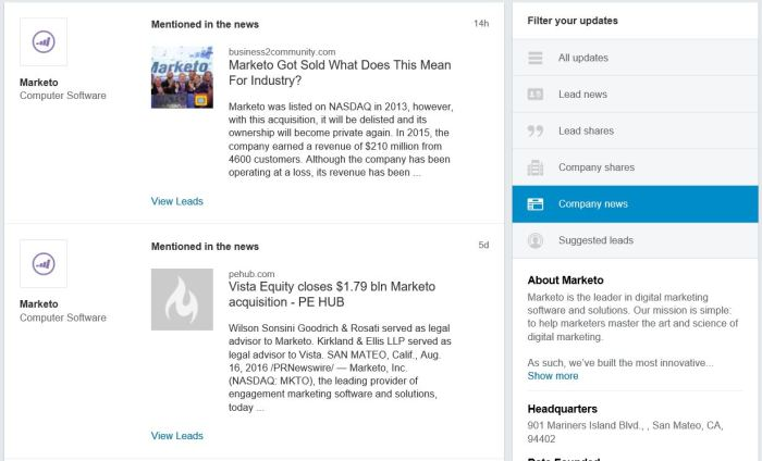 LinkedIn Sales Navigator offers Lead (executive) and company news alongside LinkedIn updates. Sales reps can filter for news or shares.