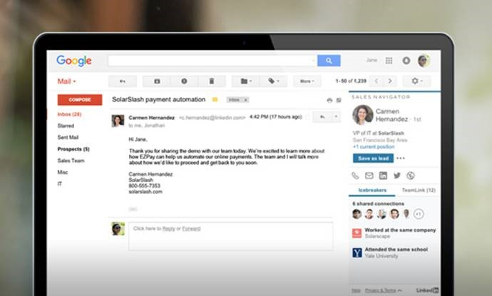 The Gmail Chrome extension provides LinkedIn contact intelligence within the Gmail Inbox. Users can identify icebreakers and TeamLink connections.