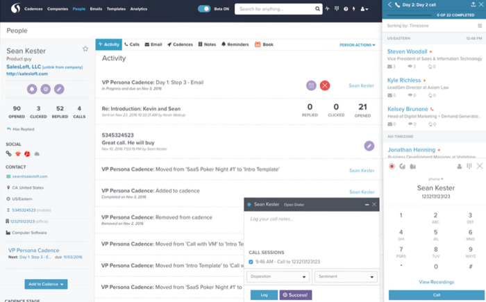 The SalesLoft Dialer supports one-click dialing from Salesforce and Inboxes. Calls are managed as part of multi-channel cadences and automatically logged.