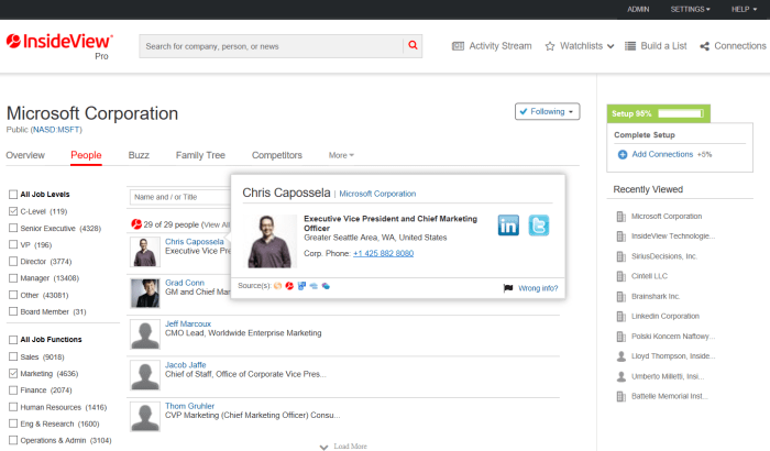 InsideView users can quickly target additional executives by function and level.