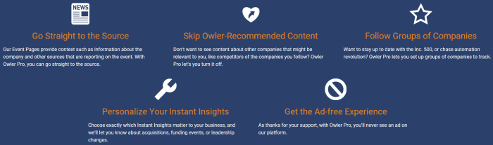 Owler Pro Features