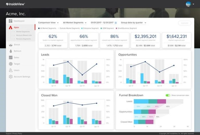 InsideView Apex Funnel Analysis Dashboard