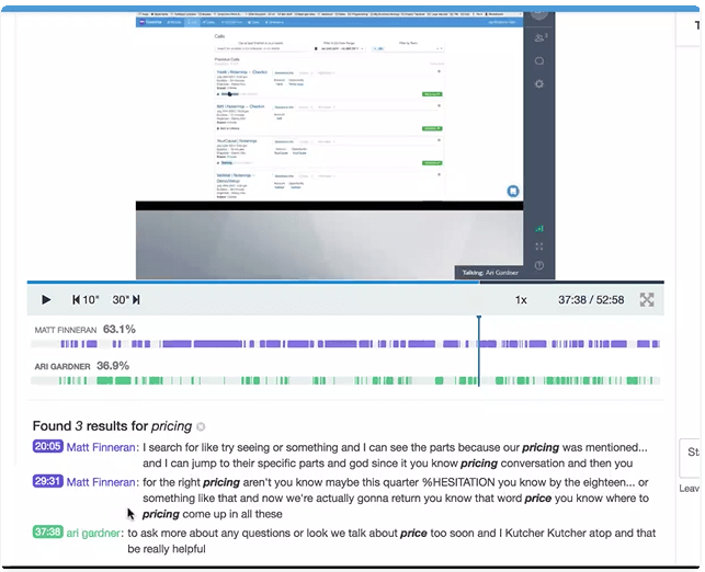 NoteNinja transcribes calls, tags them, and supports quick topic searching for insight discovery.