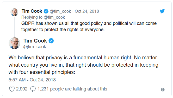 Tim Cook on GDPR