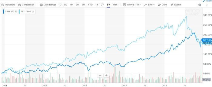 Salesforce and Facebook both had strong stock price growth over the past five years, but Facebook retreated this year after it lost trust amongst stakeholders.