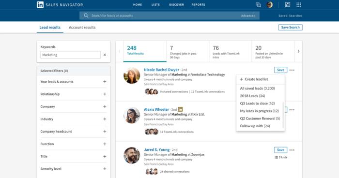 LinkedIn Sales Navigator added Custom Account and Lead lists.