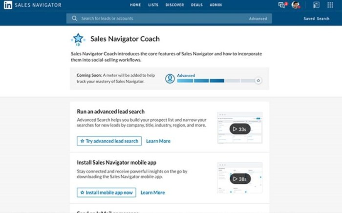 The new Sales Navigator Coach provides short videos and tips on key features.