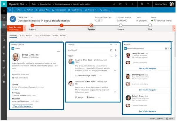 LinkedIn SNAP Connector within a Salesforce Opportunity Record (View Only).