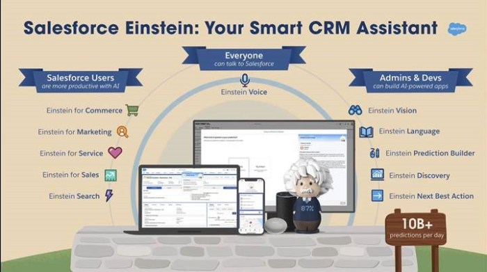 Einstein is embedded within the Salesforce platform, providing tools for users, admins, and developers.