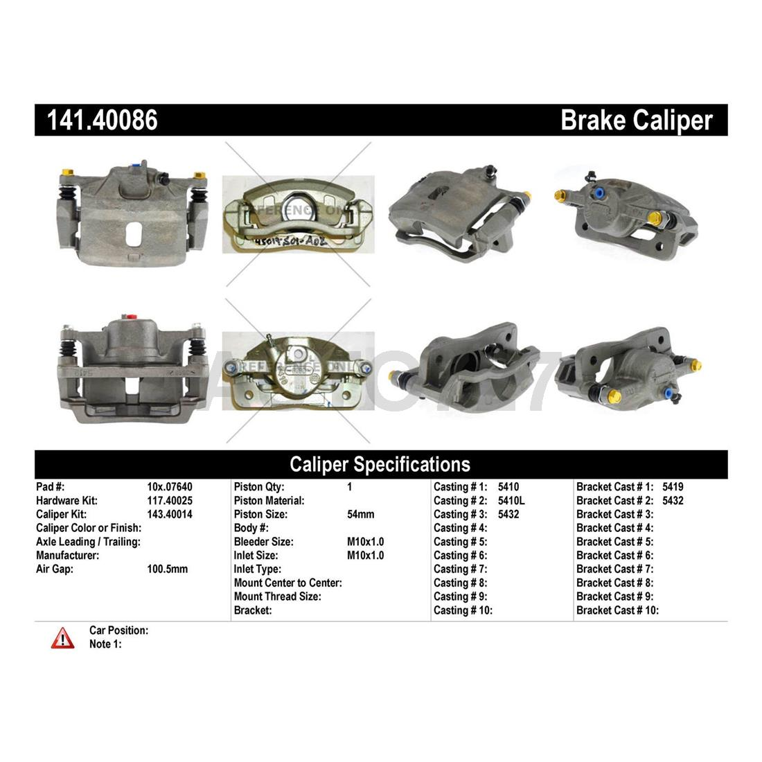 Centric Parts Front Right 1PCS Disc Brake Caliper For