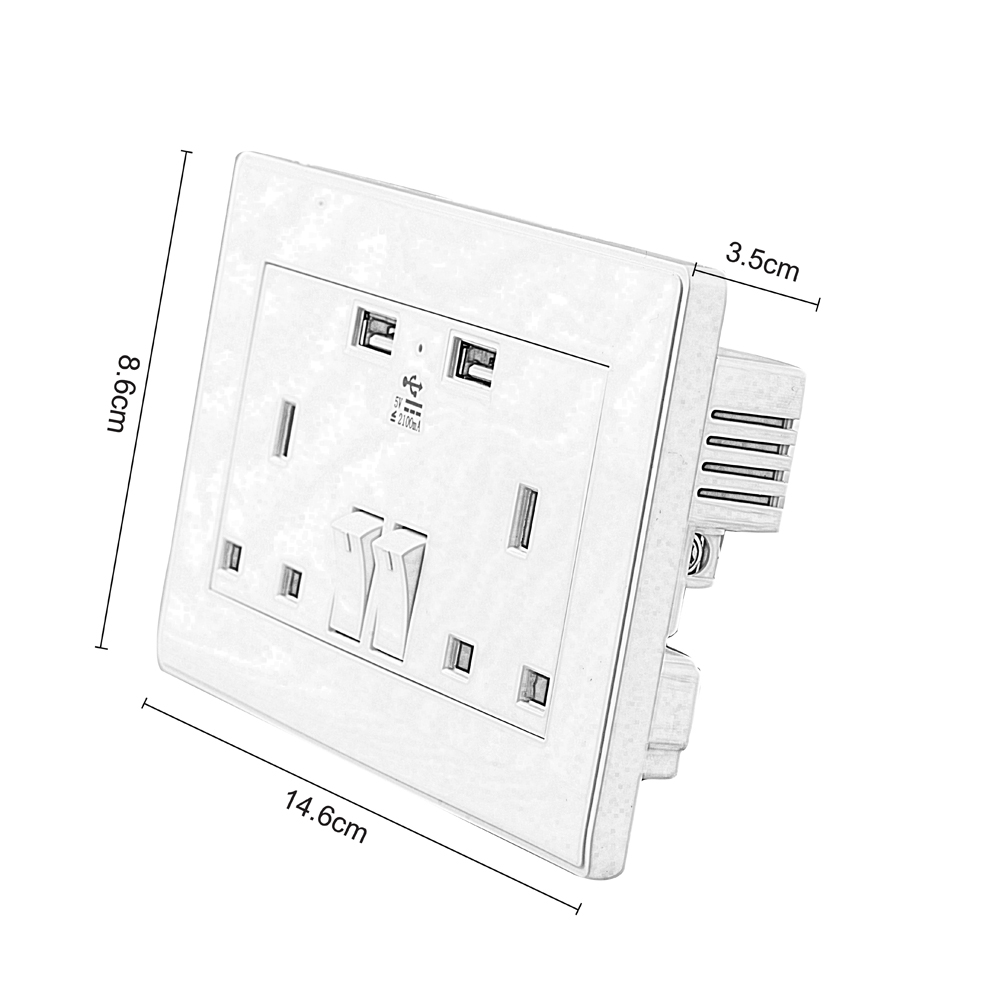 UK Wall Socket USB Plug Double Power Outlet 13 Amp Charger