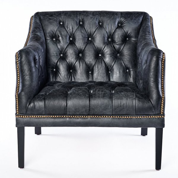 Vintage Chesterfield Leather Armchair Black Antique Club