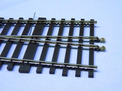 Weiche mit Schienenverbinder umgebaut