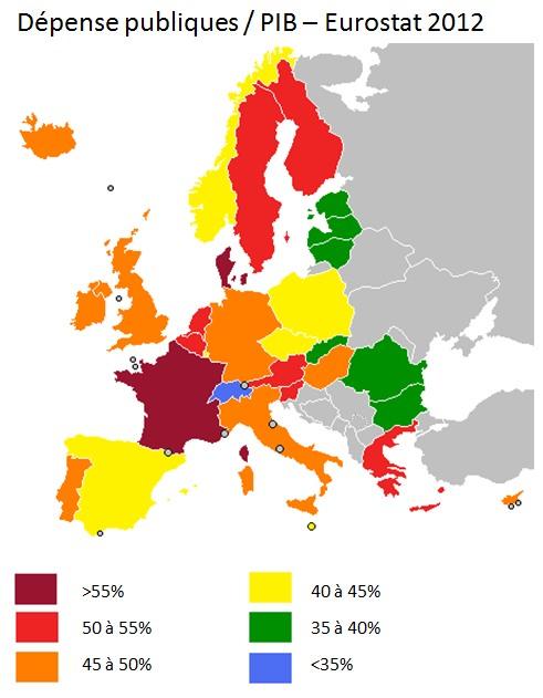 ratio dépenses publiques sur pib,  2012