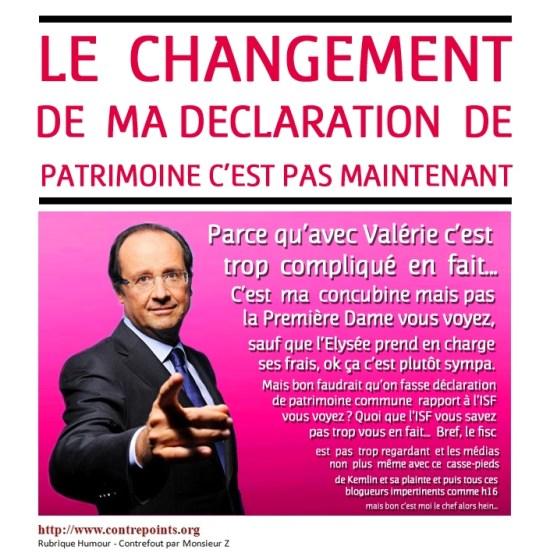 Hollande : le changement de patrimoine, c'est pas maintenant