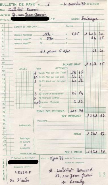 fiche de paie, décembre 1973