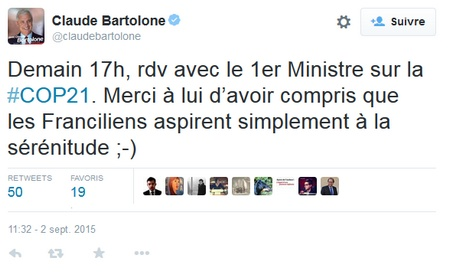 bartolone twitte la sérénitude