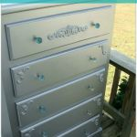 Glam silver dresser makeover with paint and wood appliques H2OBungalow
