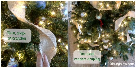 draping ribbon on the professionally decorated tree