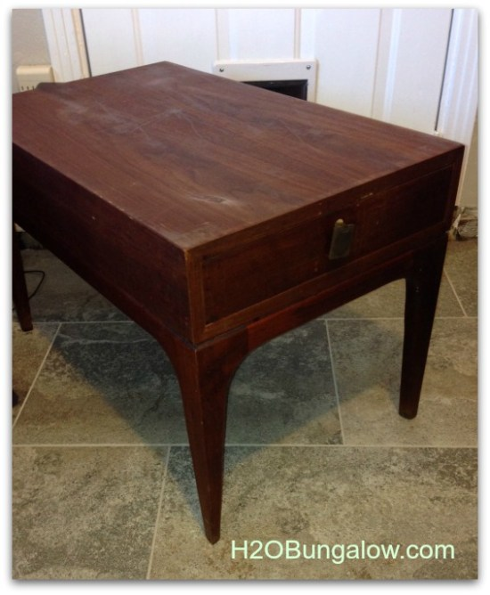 Before the makeover on my midcentury end table