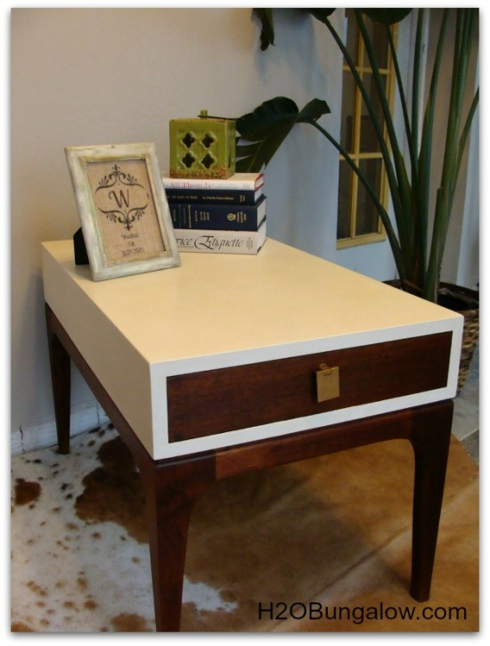Finished picture of midcentury end table makeover