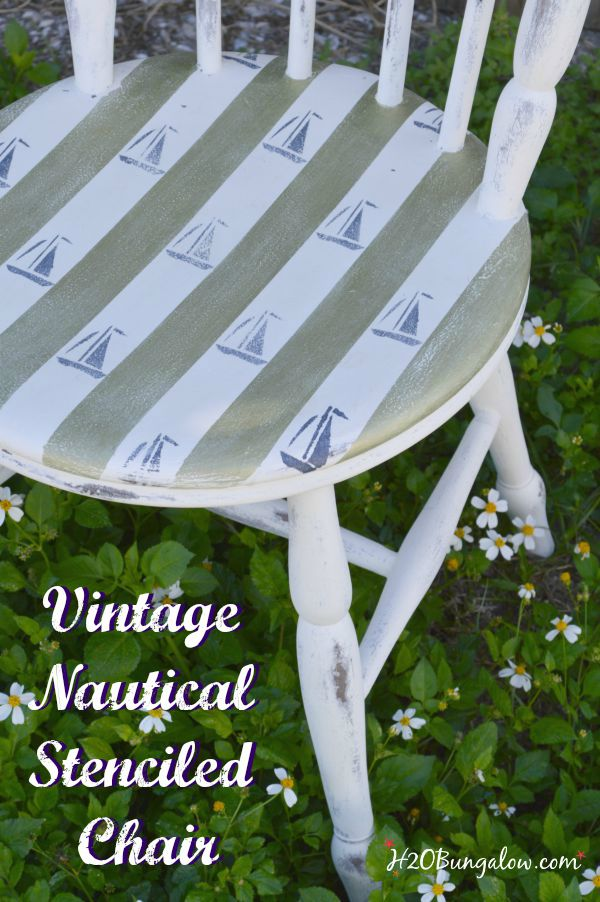 Vintage nautical chair with striped stencils over stencils add character www.H2OBungalow #stencil #nauticalchair #coastaldecor