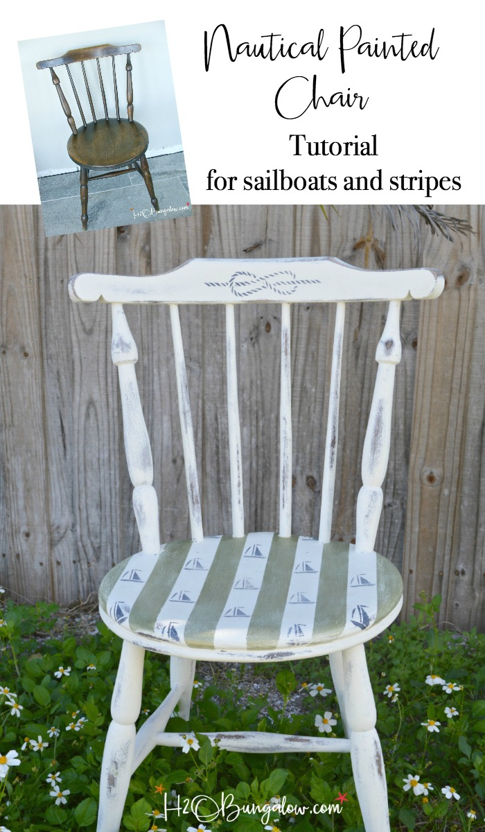 diy painted windsor chairs steamer chair cushions argos sailboats and stripes nautical accent h2obungalow makeover furniture painting tutorial for sailboat stenciling with resource