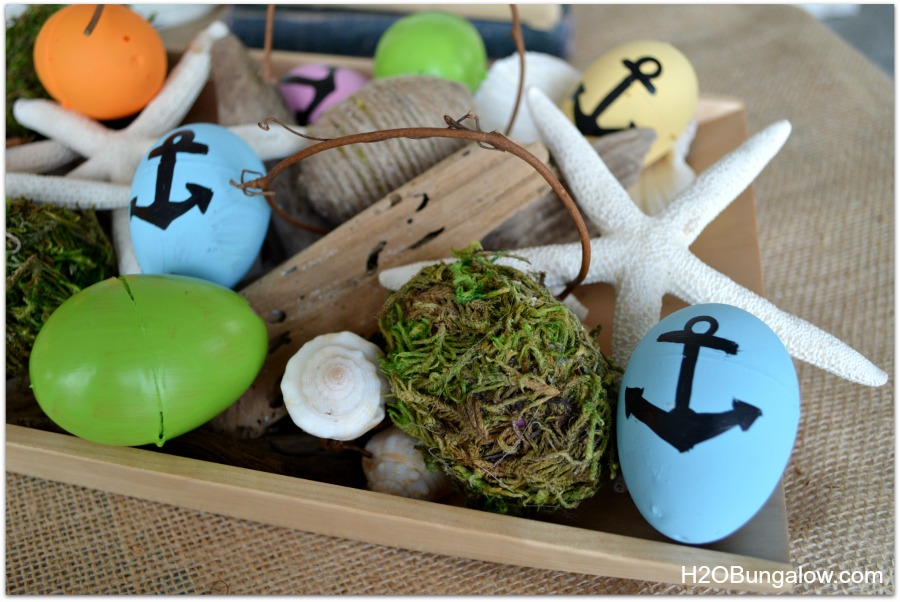 DIY moss covered and nautical easter eggs