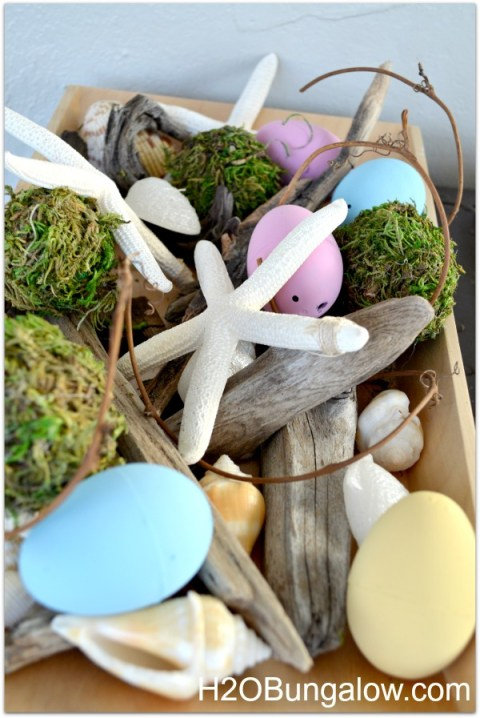 plain Easter eggs painted with starfish