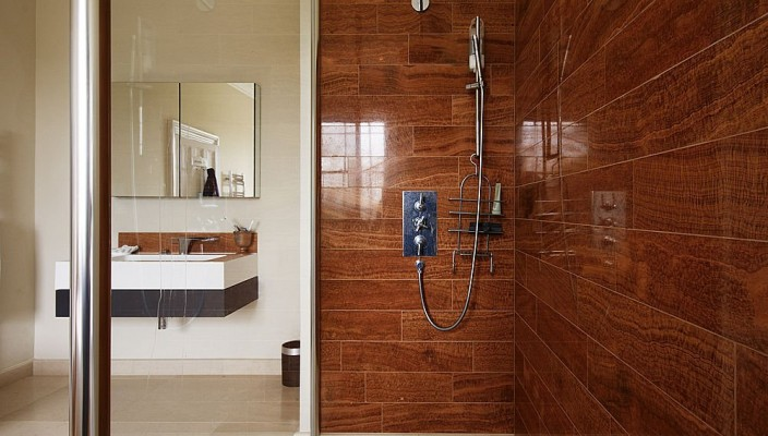 shower with wood