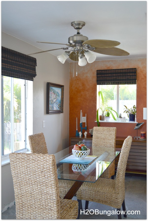 Dining room uses several decorator tricks to make a small room look larger H2OBungalow home tour