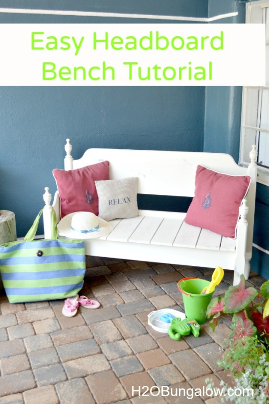 Make a one of a kind headboard bench from a thrifted wood headboard and footboard. I share good tips for building a hedboard bench like this one. It's easy to do! H2OBungalow.com #build #upcyclefurniture