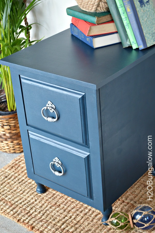 Blue-nightstand-with-red-drawers-and-white-striped-sides-for-a-pop-of-color-from-H2OBungalow