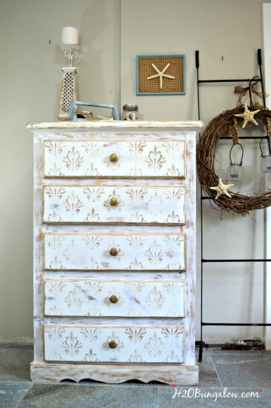 Distressed-dresser-with-damask-gold-stencils-tutorial-by-H2OBunglow