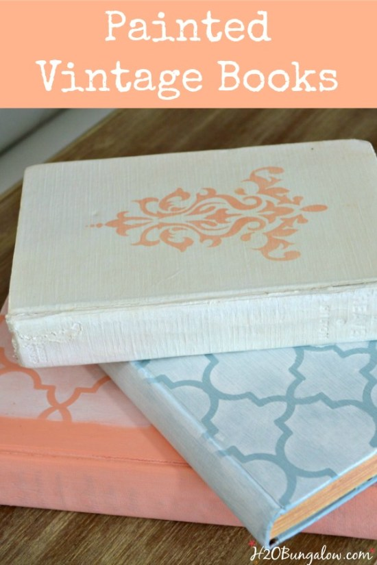 Chalk painted vintage waxed books tutorial and 9 more fantastic DIY projects for Earth Day H2OBungalow.com
