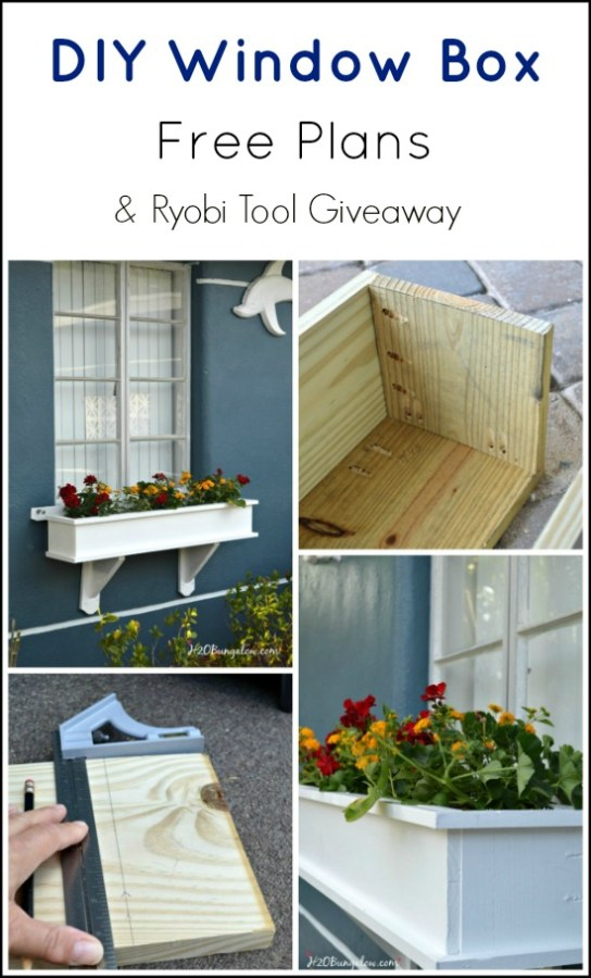 Free DIY classic window box plans and a Ryobi Tool Giveaway . Simply sign in or sign up Through my link to enter.  Giveaway ends 4/30/2015