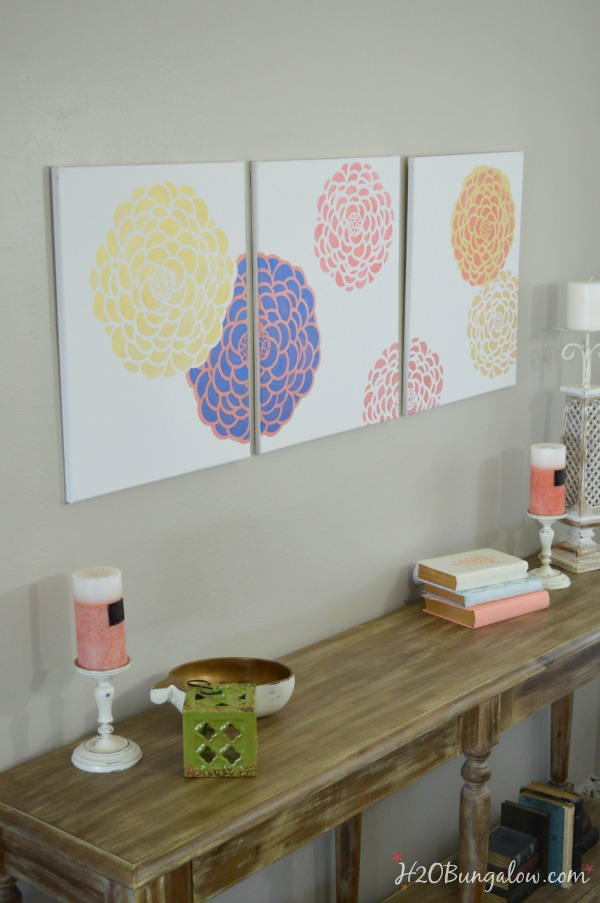 DIY-stenciled-wall-art-tryptic-H2OBungalow