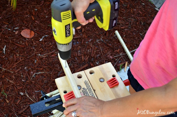 Drill holes first with a small drill bit and then a larger one H2OBungalow
